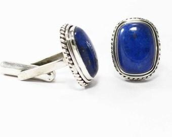 Amazing Lapis Lazuli Cufflinks 925 Sterling Silver Blue Casajewels C242