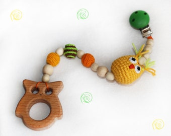 baby toy teething baby teether baby teething toy clip grasping toy wooden teether stroller toy owl baby shower gift baby rattle eco toy