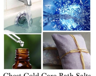 Chest Cold Care Bath Salts. Natural Sea Salts and Essential Oils to Help Comfort and Sooth Both The Body and Mind - - 16oz Bag
