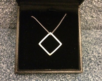 Square Necklace - Handmade Silver