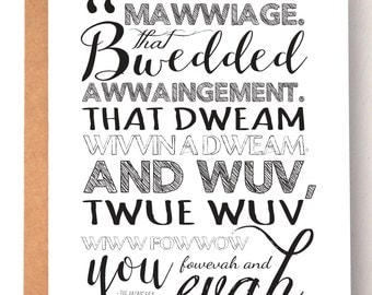 The Princess Bride quote, Mawwiage, Wedding card, love card, greeting cards, anniversary card, I love you card, Princess Bride, quote art,
