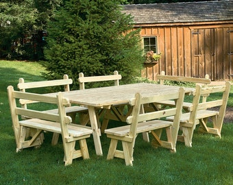 8 Foot Picnic Table with 4 OR 6 Detached Backed Benches *PAINTED* Pressure Treated Pine - Real Wood - Handmade - Amish Made in the USA