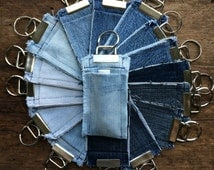 Reclaimed Denim Chapstick Holder Key Fob Light Blue Medium Blue Dark Blue Fabric Keychain Chapstick Holder Keychain Unisex Keychain