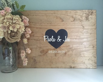 Rustic Wedding Guest Book Alternative / Rustic Heart Love Wedding Guest Book / Wood Guest Book Rustic Wedding Decor Wood Sign In Country Wed