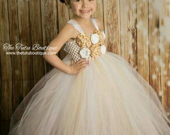 Beige and White Tutu Dress, Wedding, Cute Dress up Dress, Gift, Birthday Tutu Dress, Flower Girl Dress, Fun Play