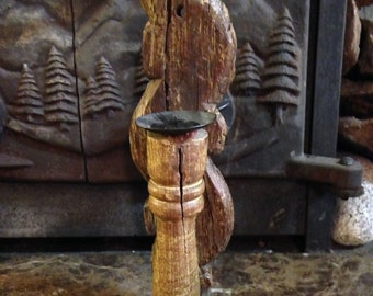 Very Primitive Old Wooden Taper Candle Holder