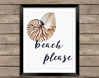 Beach Please Wall Art - Beach Please Print, Beach Art, Shell Print, Beach Decor