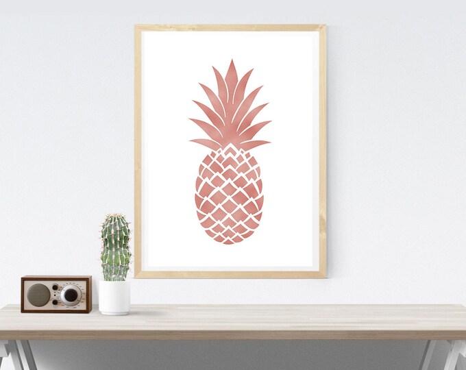 Rose Gold Pineapple Poster / 50X70 Pineapple Poster / Pink Pineapple Printable Poster / Modern Poster / Tropical Wall Art