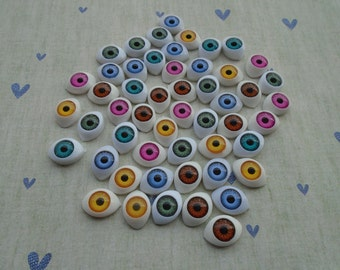100Pcs 15x10MM Mix Color Resin Eyes Resin Eyeball Resin Eye Cabochon ---SS1047