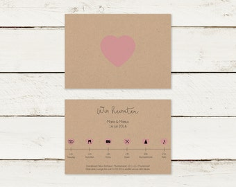 Wedding invitation | Kraft paper | Timeline