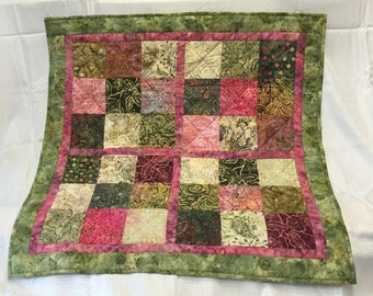 Batik Charm Square Mini Quilt Table Topper Sofa Chair Scarf Home Decor Green Pink Leaves Flowers