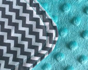 Personalized Minky Burp Cloth- Tiny Grey Chevron