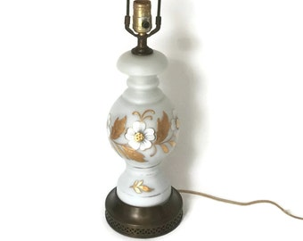 Vintage Table Lamp, Bavarian Bristol Table Lamp   Beautiful Hand Painted  Lamp, Hand Blown