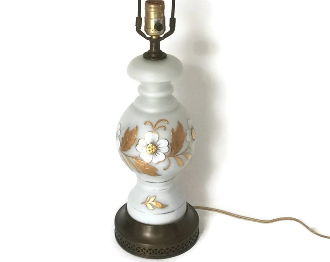 Bavarian Bristol Table Lamp - Beautiful Hand Painted Lamp, Hand Blown Glass Lamp, Gold Gild and White Table Lamp, Vintage Table Lamp