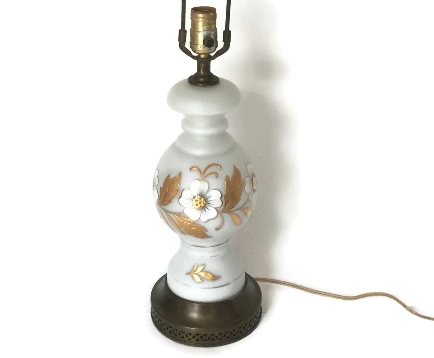 Vintage table lamp by bavarian bristol beautiful hand painted lamp geotapseo Gallery