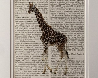 Giraffe Book Print -  Recycled Vintage Dictionary Page, Home Decor, Poster, Art, Animal Lover
