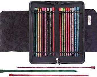 Dreamz Straight Knitting Needle Set, 25cm (10'') - 3.0, 3.5, 3.75, 4.0, 4.5, 5.0, 5.5, 6.0, 8.0 mm) in Black Jacquard Fabric Case, 11