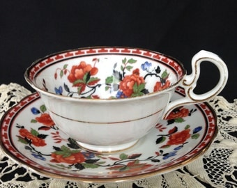 Aynsley cup and saucer, Aynsley England, Aynsley tea set, Aynsley bone china, Floral pattern, Red flowers, Blue flowers