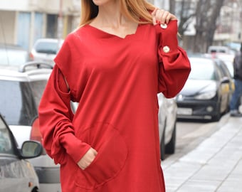 Extravagant Loose Casual Tunic, Long And Short Sleeves Oversize Tunic, Asymmetric Red Maxi Top by SSDfashion