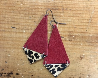 Leather Color-block Earrings