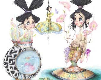 china pop surrealism flowers fashion illustration mary katrantzou art print
