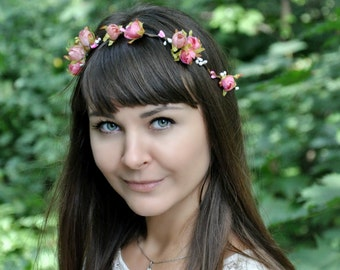 Bridal flower crown Wedding flower crown Flower halo Floral crown Boho flower crown Flower crown Girl flower crown Rustic floral crown LV12