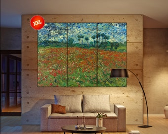 van gogh poppy field  print canvas wall art Large van gogh poppy field art artwork large art office decoration