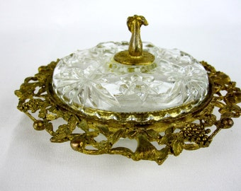 Crystal Filigree Powder Dish Trinket Dish Signed Celeste 1950s