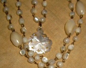 vintage Mother of Pearl Prayer Beads and Star Of Bethlehem Pendant