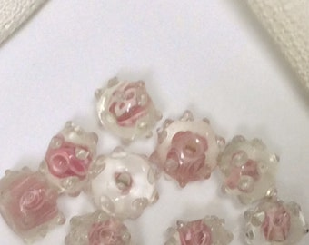6 pink flower bumpy lampwork rondelle pink polka dotted beads pink rondelle beads