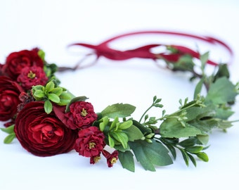 Burgundy flower crown,Flower headband, headband, wedding flower crown, bridal flower crown, bohemian flower crown,dainty floral crown