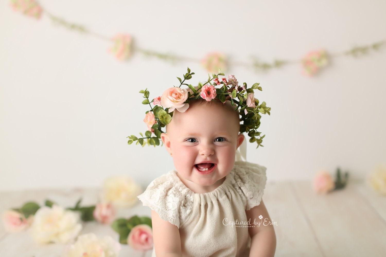 Newborn flower crown Baby flower crown baby headpiece