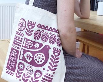 Scandinavian Bird Flower Tote Bag Market Bag Swedish Hand-Pulled Screen Print Pink Fran Wood Design
