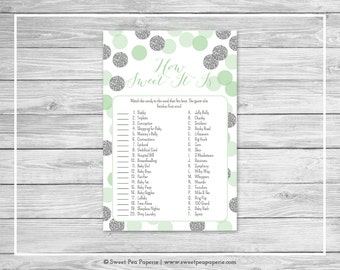 Mint and Silver Baby Shower How Sweet It Is Game - Printable Baby Shower How Sweet It Is Game - Mint and Silver Glitter Baby Shower - SP125
