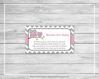 Owl Baby Shower Book Instead of Card Insert - Printable Baby Shower Books for Baby - Pink Owl Baby Shower - Books for Baby - Owl Baby- SP134