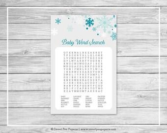 Winter Wonderland Baby Shower Baby Word Search Game - Printable Baby Shower Baby Word Search Game - Winter Wonderland Baby Shower - SP114