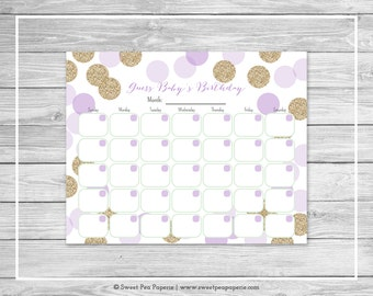 Purple and Gold Baby Shower Guess Baby's Birthday - Printable Baby Shower Guess Baby's Birthday Game - Purple and Glitter Baby Shower- SP109