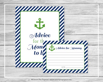 Nautical Baby Shower Advice for Mom Cards - Printable Baby Shower Advice Cards - Navy Green Baby Shower - Advice for Mom to Be - SP120