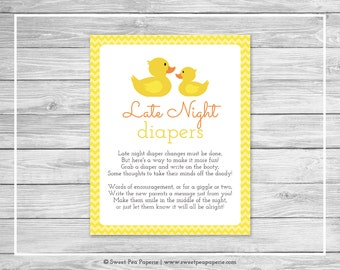 Rubber Ducky Baby Shower Late Night Diapers Sign - Printable Baby Shower Late Night Diapers - Rubber Duck Baby Shower - Diapers Sign - SP121
