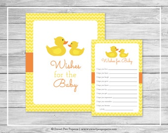 Rubber Ducky Baby Shower Wishes for Baby Cards - Printable Baby Shower Wishes for Baby Cards - Rubber Duck Baby Shower - Baby Wishes - SP121