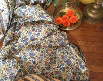 Hand block printed cotton saree in natural dyes