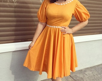 50's/60's Orange Polka Dot Daisy Dress