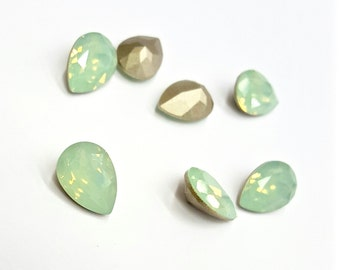 2 Pieces Chrysolite Opal Swarovski Stones, Article #4320, Vintage, 14x10mm Pear Shape