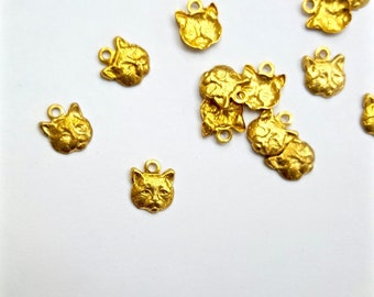 36 Pieces Cat Face Charms, Raw Brass, Hollow Back, 8x7mm