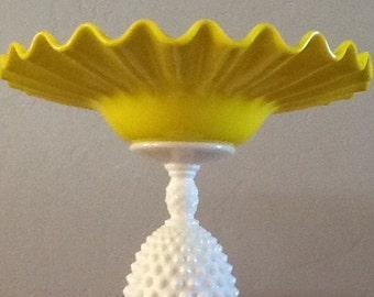 Wedding/Birthday/Anniversary/Baby Shower Cupcake/Dessert Stand. Yellow/Milk Glass