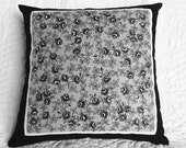 Vintage Burmel Hanky pillow with black/silver roses