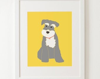 "Schnauzer art print 6503, size 8x10"" 11x14"", schnauzer gifts, art decor, dog print, kids room decor, nursery decor"