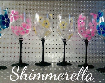 Flower glitter glass