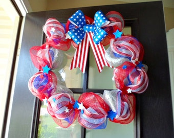 Fourth of July Wreath, Front Door Wreath, American Flag, Summer Decor, Porch,Independence Day, 4th of July, Decor, Wreath, Festive, Flag