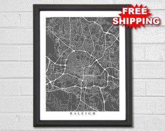 Raleigh Map Art - Map Print - North Carolina - Custom Map - Travel - Map Art - Office Decor - Map of Raleigh - City Map - Home Map